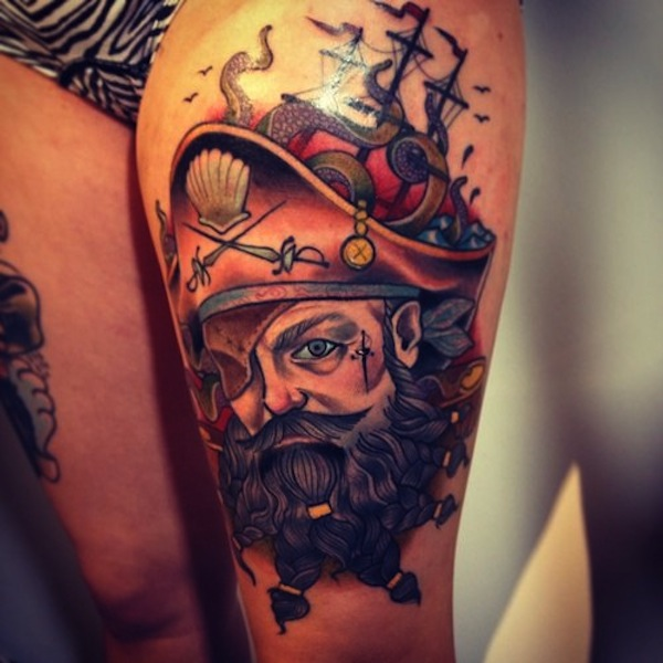 Pirate Tatto On Full Thigh