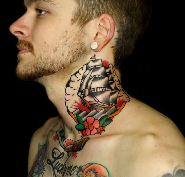 Pirate Tattoos On Side Neck For Young Guys