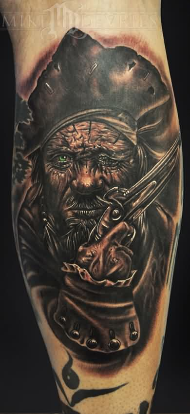 Pirate With Green Eye Tattoo