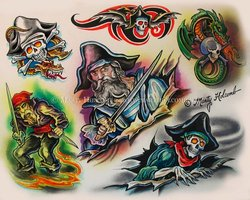 Pirates Color Tattoos Sheet