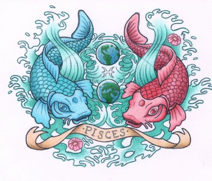 Pisces And Globe Tattoos Design