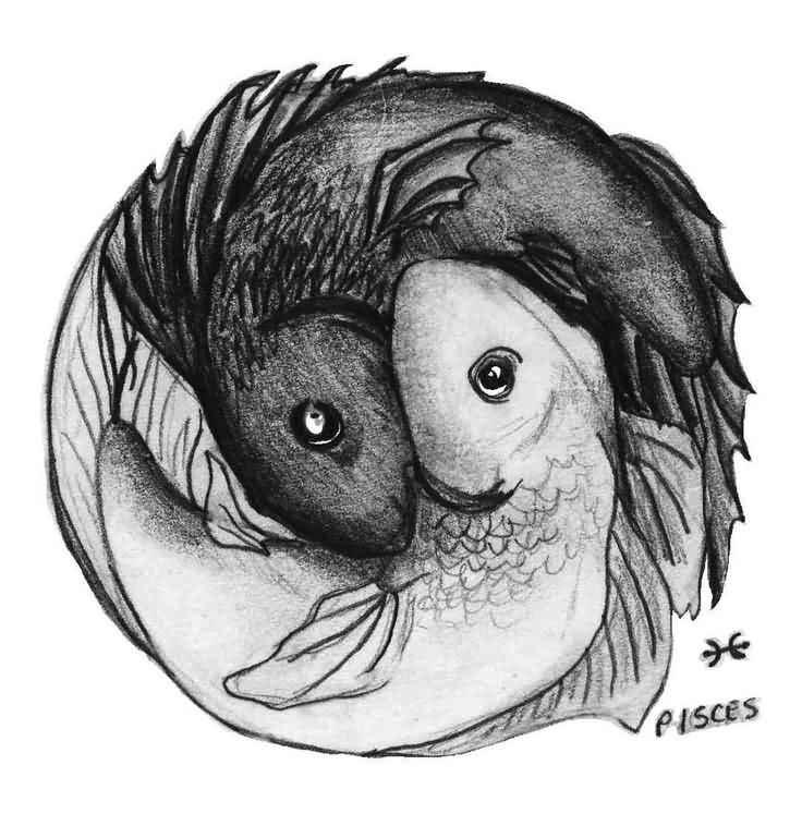 Pisces Black And Grey Tattoo Design
