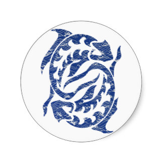 Pisces Blue Water Fish Round Stickers