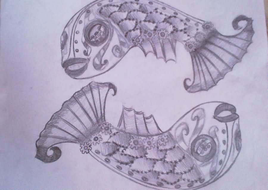 Pisces Fish Tattoo Sketch