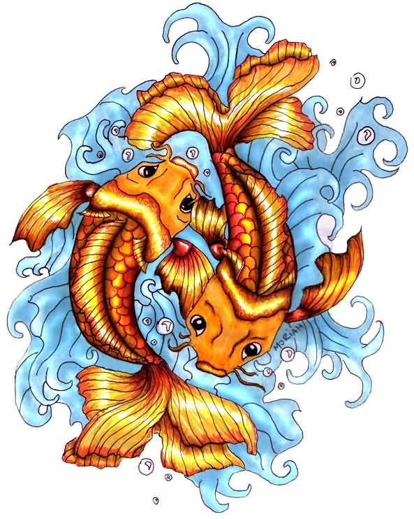 Pisces Koi And Waves Tattoo Design