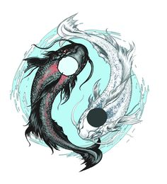 Pisces Koi Fish In Water Tattoo Design