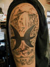 Pisces Man Waterfall Tattoos On Arm