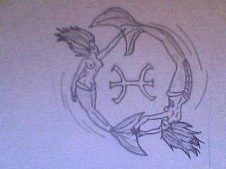 Pisces Mermaids Tattoo Drawing