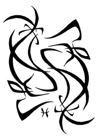 Pisces Outline Tattoo Stencil