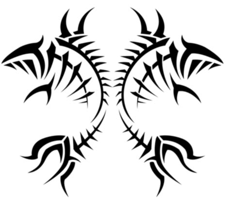 Pisces Tribal Tattoo Stencil