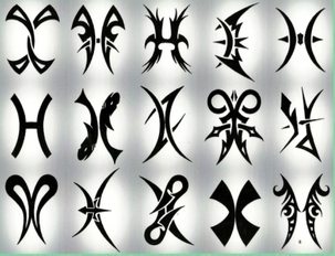 Pisces Tribal Tattoos Sheet
