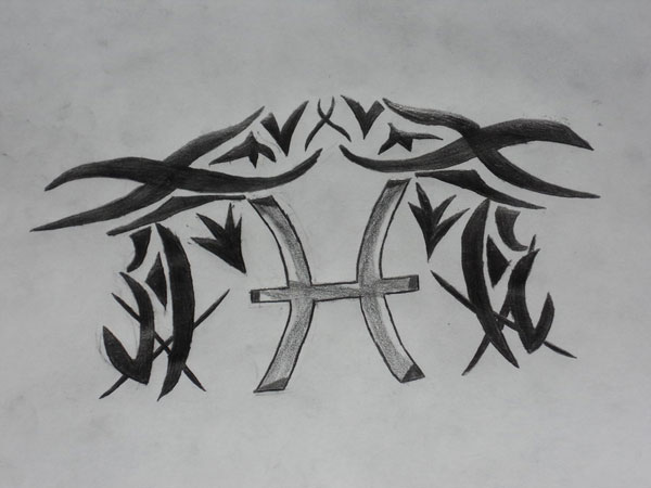 Pisces Tribal Tattoos Sketch