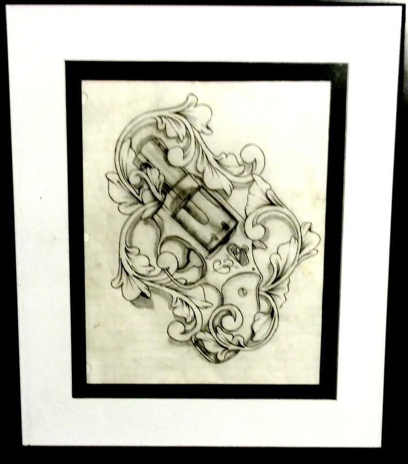 Pistol And Filigree Tattoo Sketch Photo