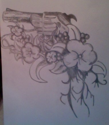 Pistol And Flower Tattoos Sketch