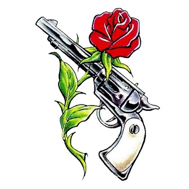Pistol And Red Rose Tattoo Designs