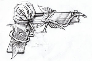 Pistol And Rose Tattoo Sketch