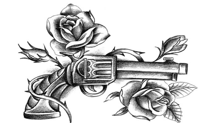 Pistol And Rose Vine Tattoo Designs