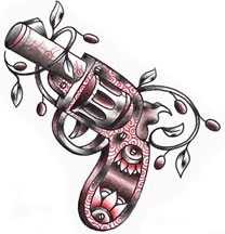 Pistol And Vine Tattoo Sample