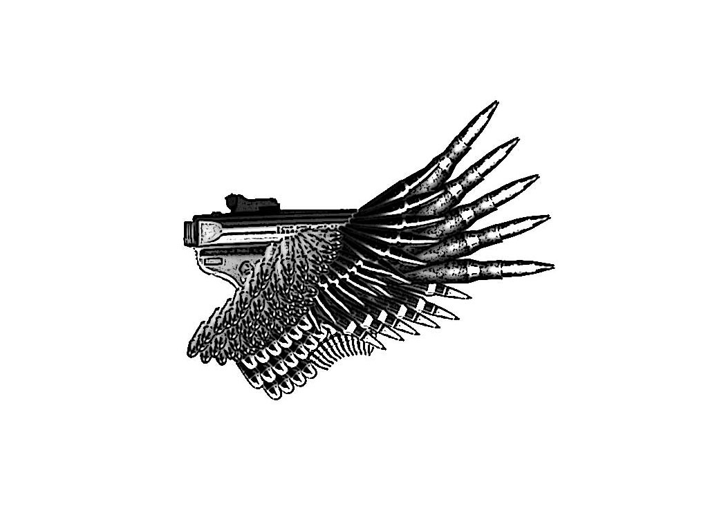 Pistol And Wing Of Bullets Tattoo Sample