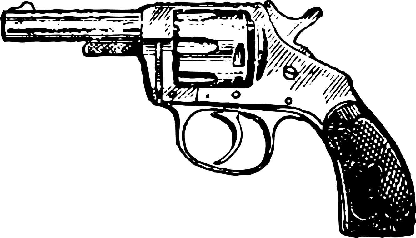 Pistol Black And White Tattoo Sample
