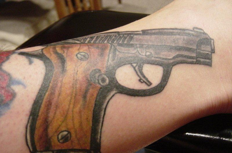 Pistol Close Up Tattoo