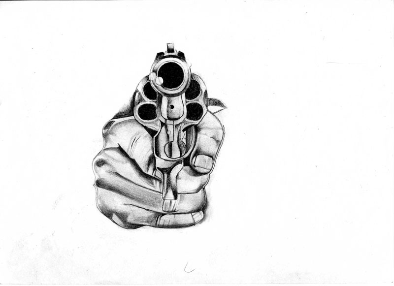 Pistol In Hand Tattoo Sketch