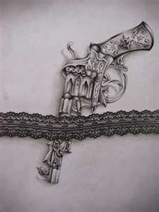 Pistol In Lace Band Tattoo Sketch