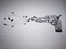 Pistol Shooting Swirls Tattoo Design