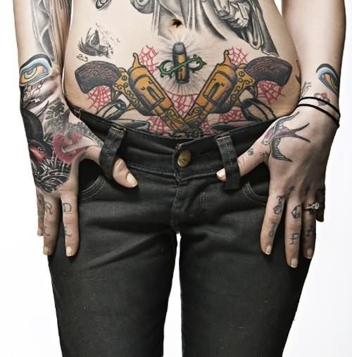 Pistol Spiderweb And Bullet Tattoos On Lowerbelly