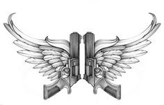 Pistol With Angel Wings Tattoo Design