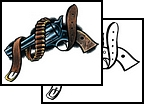 Pistol With Bullets Belt Tattoo Design