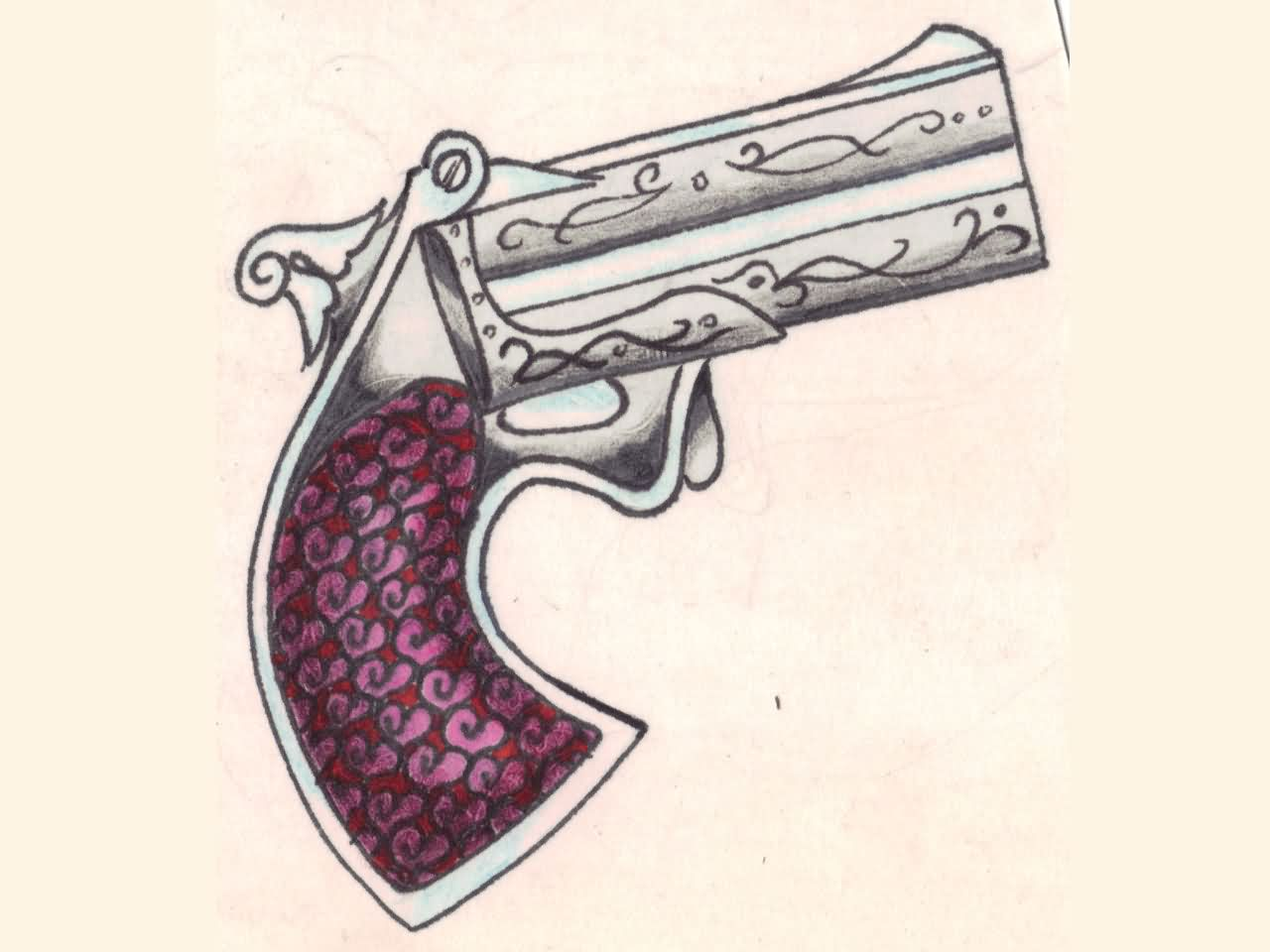Pistol With Handgrip Of Hearts Tattoo Design
