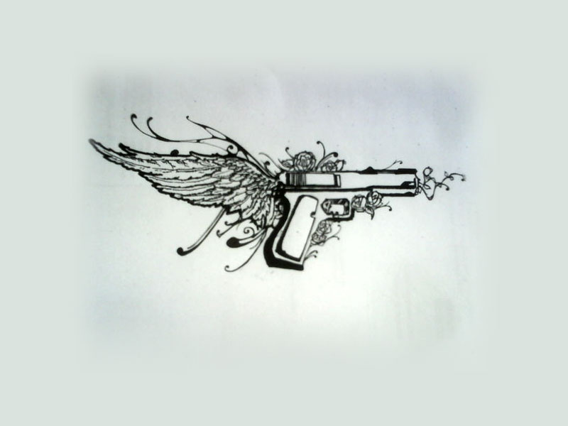 Pistol With Wing And Flower Tattoos Poster