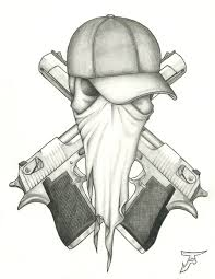 Pistols Behind Thug Head Tattoo Design