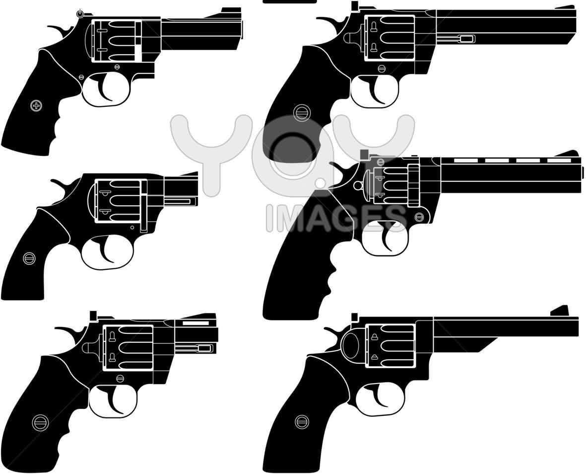 Pistols Black Tattoo Designs