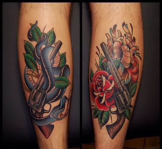Pistols Snake Rose And Heart Tattoos