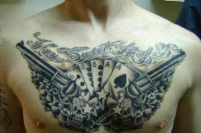 Playing Cards Pistol And Star Chestpiece Tattoos