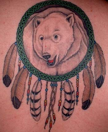 Polar Bear In Native American Dreamcathcer Tattoo