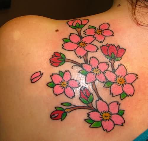Pretty Asian Blossoms Tattoos Behind Shoulder