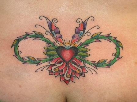 Pretty Butterfly Wings And Infinity Symbol Tattoo On Lower Waist