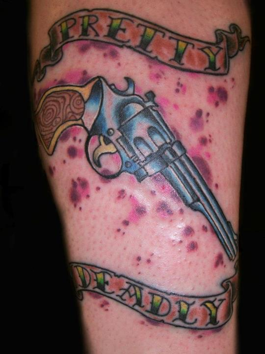 Pretty Deadly Pistol And Blood Spots Tattoos