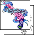 Pretty Deadly Pistol And Blue Banner Tattoo Design
