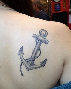 Pretty Grey Anchor With Rope Tattoo Behind Shoulder