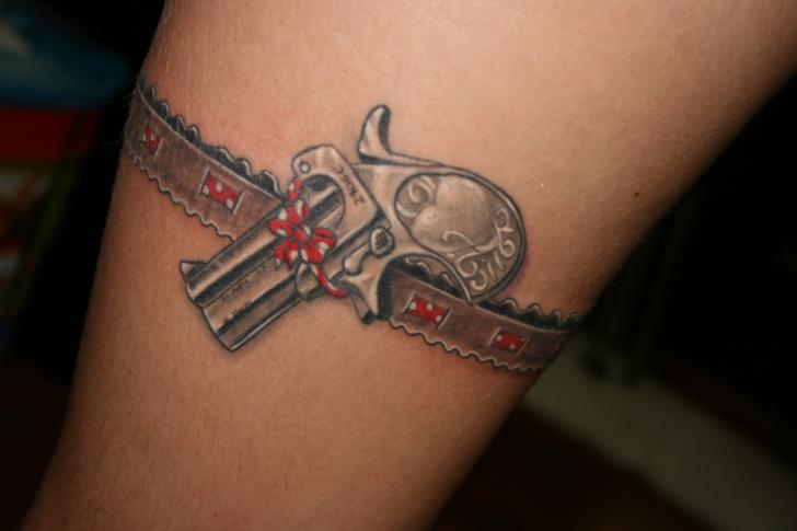 Pretty Grey Pistol Garter Belt Tattoo