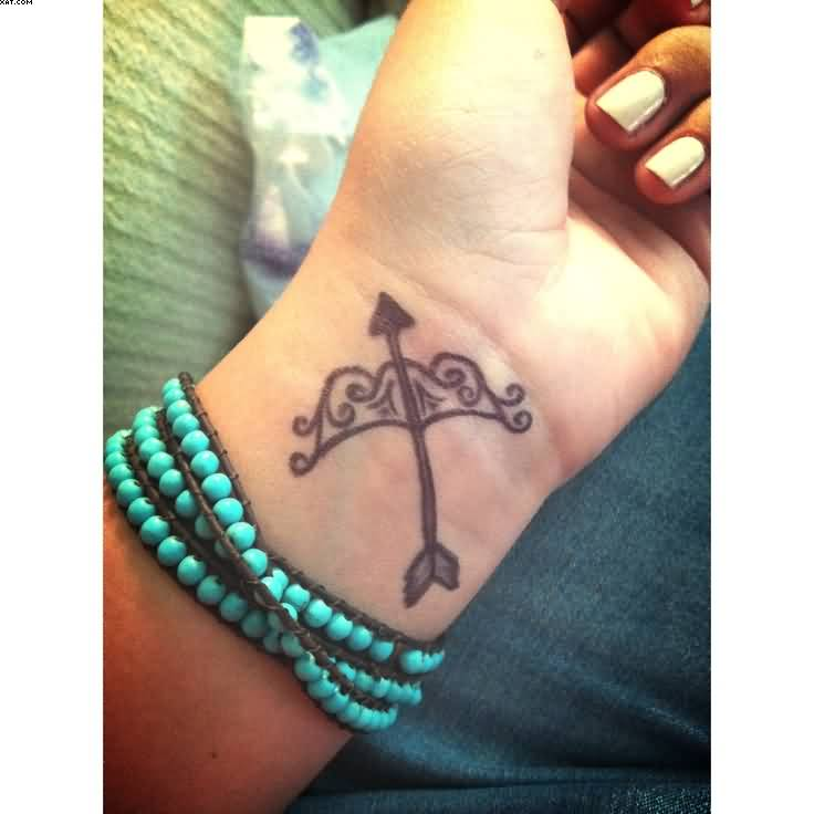 Pretty Grey Sagittarius Tattoo On Inner Wrist