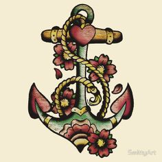 Pretty Heart Anchor With Small Red Flower Tattoos Poster
