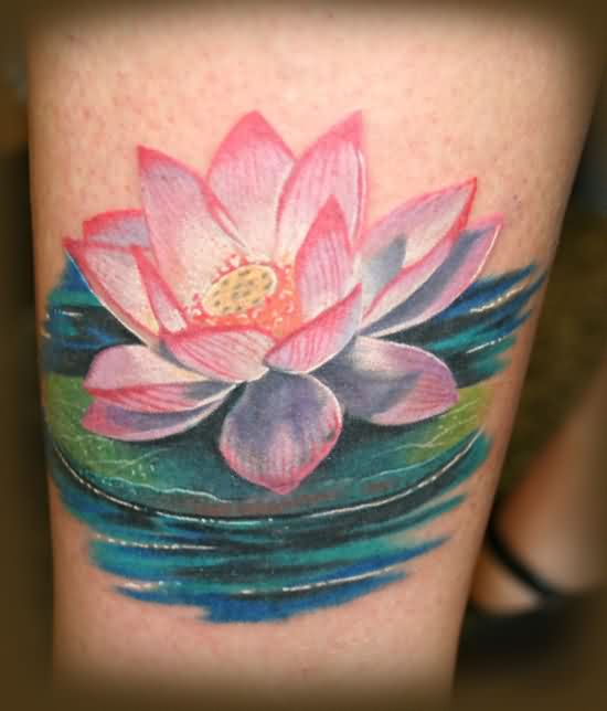 Pretty Lotus In Water Portrait Tattoo
