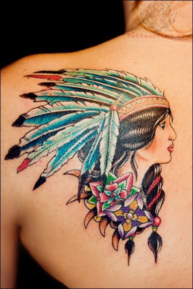 Pretty Native American Girl And Flower Tattoos