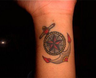 Pretty Nautical Star Anchor Tattoo On Inner Wrist