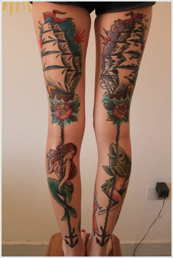 Pretty Nautical Tattoos On Both Legs (2)